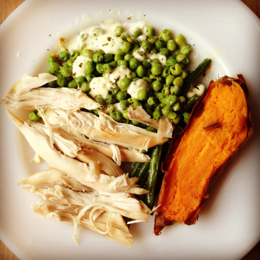 Roast chicken, baked sweet potato, peas with mint and feta, green beans