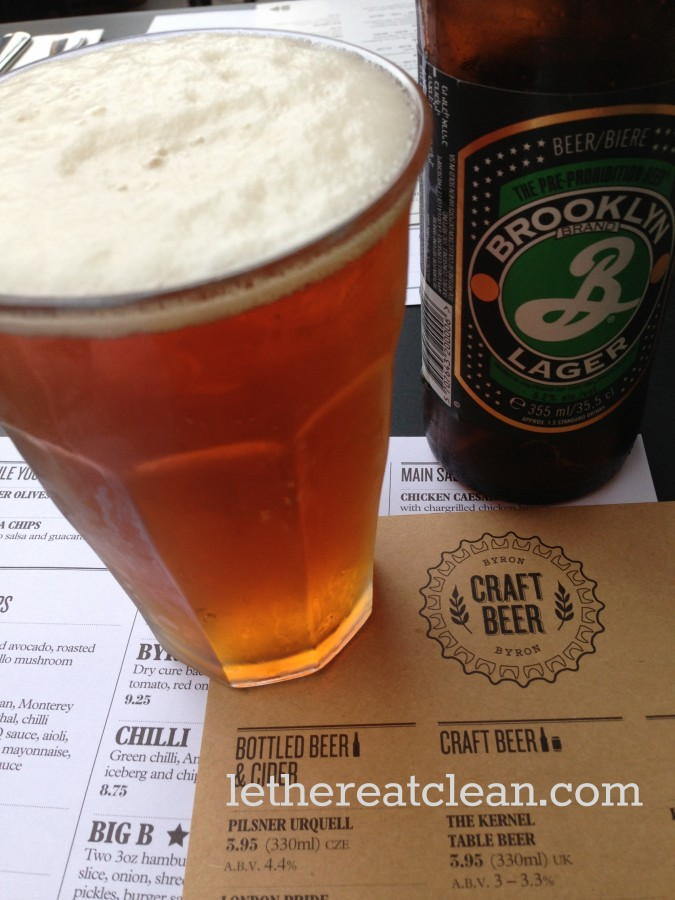 The 80-20 rule upheld at Byron - Brooklyn lager is definitely one of my favourites