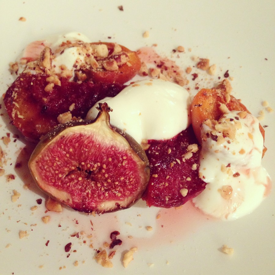 Course 5: roasted apricot, peach and fig with yogurt, honey and toasted hazelnuts