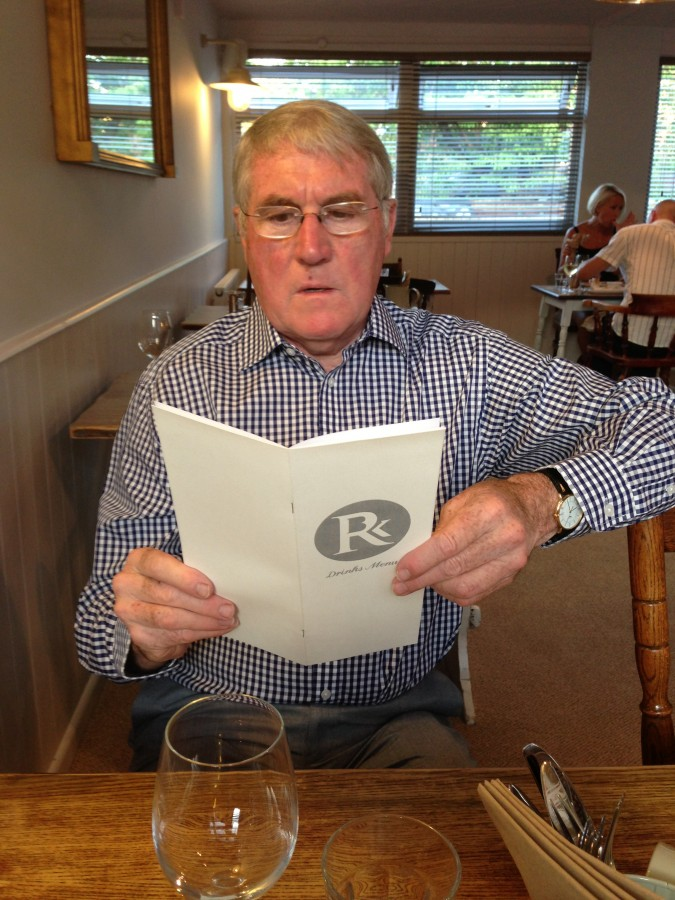 Obligatory Dad shot (concentrating extremely hard on the wine list, naturally…)